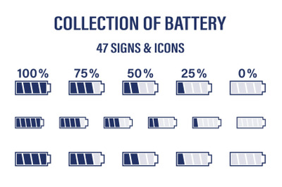 Set of various battery signs, icons
