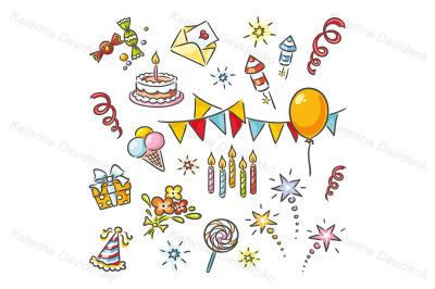 Cartoon birthday clipart set