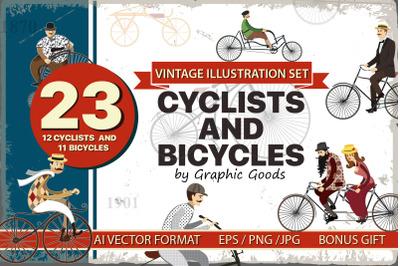 Bicycles vintage Illustration set