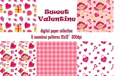 Valentine's day digital papers. 5 seamless love patterns