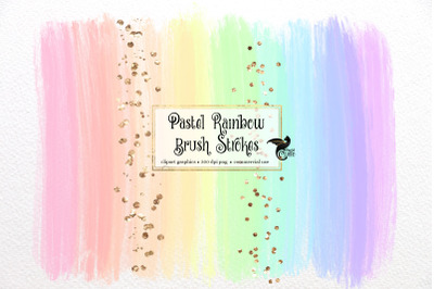 Pastel Rainbow Brush Strokes Clipart