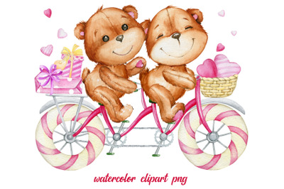 Watercolor clipart, tandem bike, teddy bear, couple, heart,  Love Coup