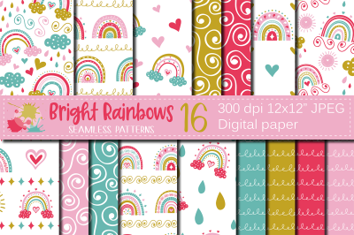 Bright rainbows digital paper, Cute colorful rainbow seamless patterns