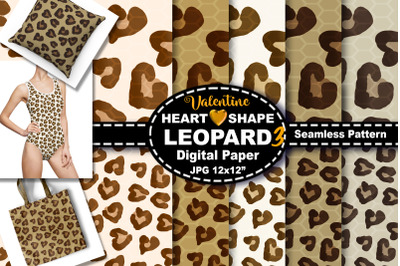 Natural Color Heart Leopard Seamless Pattern Digital Paper