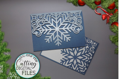 Snowflake trifold wedding invitation svg dxf cutting file
