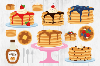 Pancake Clipart, Breakfast Clipart, Fruit