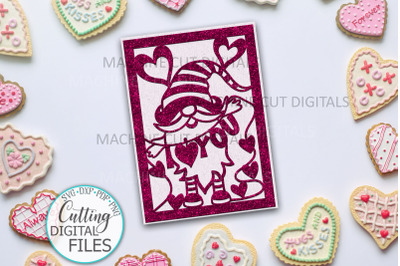 I love you Valentines day card svg dxf cut out template