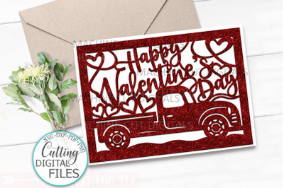 Happy Valentines day card svg dxf cut out template laser cut