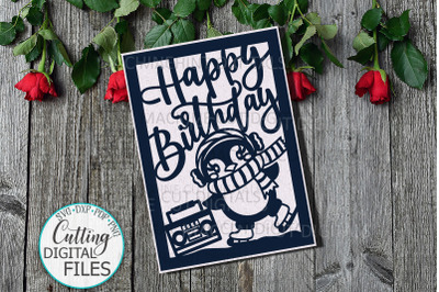 Funny penguin birthday card svg dxf cut out template