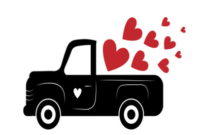 Valentine truck SVG, Valentine svg, Valentine red truck Svg, red old t