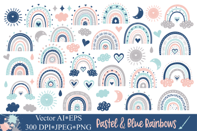 Pastel and Blue Rainbows Clipart / Cute rainbow graphics
