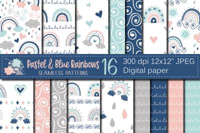 Pastel and blue rainbows digital paper, Cute pastel seamless patterns