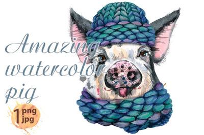 Cute watercolor piggy. Pig for T-shirt graphics.