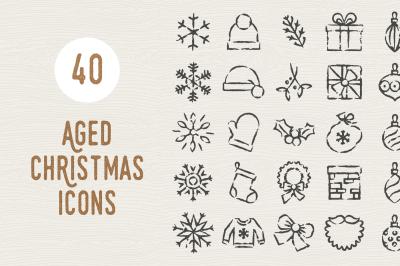 40 Aged Christmas Icons