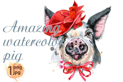 Cute piggy in red mask. Pig for T-shirt graphics.