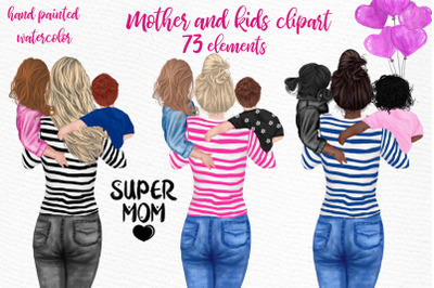 Mother and children Mother's day clipart Supermom clipart
