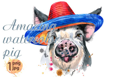 Cute piggy in mexican hat. Pig for T-shirt graphics