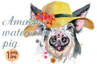 Cute piggy in summer hat. Pig for T-shirt graphics.
