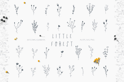 LITTLE FOREST. 30 FLORAL ELEMENTS