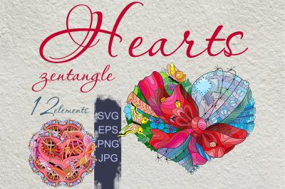 Hearts zentangle 2