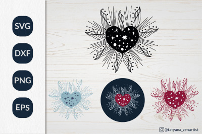 Celestial Valentine heart svg clipart for greeting card