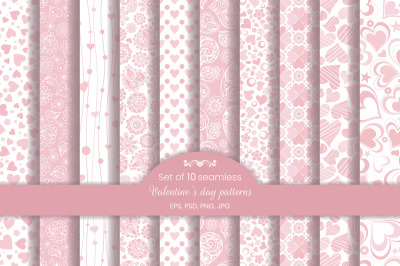 Set of 10 seamless pattern in hearts