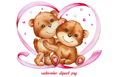 Watercolor clipart, Teddy Bear, Bear couple. Valentine's Day, brown be