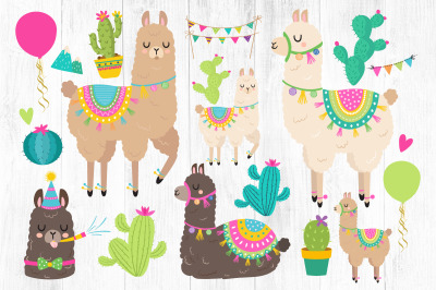 Llama Clipart, Llama Birthday PNG, Cactus