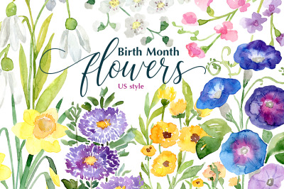 Watercolor Birth Month Flowers