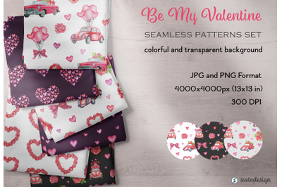 Valentine's Day watercolor digital paper. Love seamless pattern.