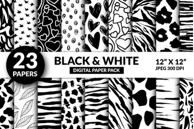 Cute Black and White Digital Paper, Modern Valentine Seamless Patterns