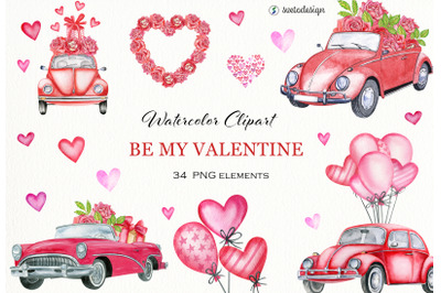 Valentine's day watercolor clipart. Vintage cars, hearts, roses PNG