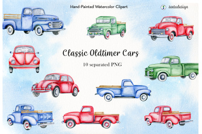 Classic vintage trucks watercolor clipart. Retro oldtimer cars