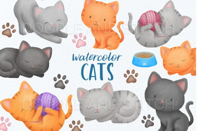 Cute Cat Watercolor Illustration