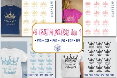12 months designs for Princesses, Princes, Queens, Kings