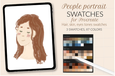 People portrait swatches for Procreate. Skin tone swatches, hair color