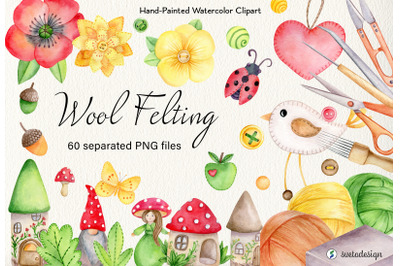 Watercolor wool felting clipart. Watercolour hobby essentials