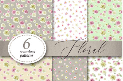 Floral Flowers patterns Digital Paper Seamless Patterns