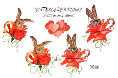 Watercolor rabbit PNG. Little cute animals clipart rabbit