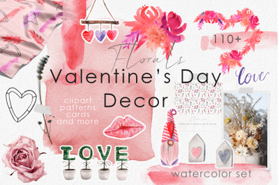 Valentine's Day Watercolor Decor. Floral arrangements, Cards, Patterns