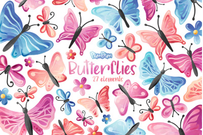 Butterflies Watercolor Cliparts