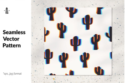 Trippy cactuses seamless pattern