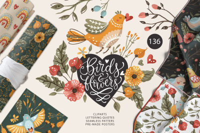 Birds & flowers Spring floral bundle