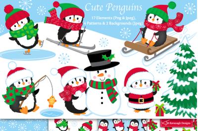 Penguin clipart, Christmas graphics & illustrations C49
