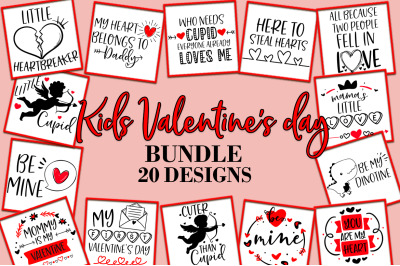 Kids Valentine's Day Quotes Sayings SVG Design Bundle
