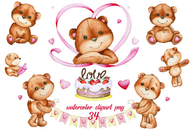 Watercolor clipart. Valentine's Day. Cute Teddy bears clipart. Decor,