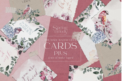 Watercolor Floral Flower Birds Rose Gold Premade Cards Wedding Valenti