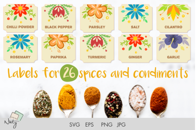Labels for 26 spices and condiments.Print and use!
