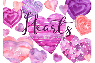 Watercolor Heart Clipart Valentine hearts love clip art Valentines Day