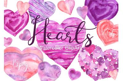 Watercolor Heart Clipart Valentine hearts love clip art Valentines Day